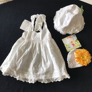 Cotton kids Summer dress. girls white linen 12M